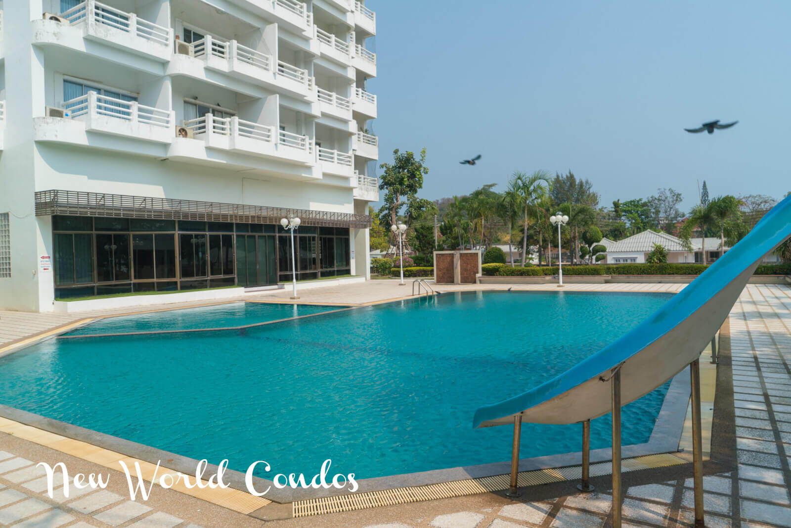 Beautiful pool at New World Condos on Mae Rumphueng Beach near Ban Phe, Rayong, Thailand