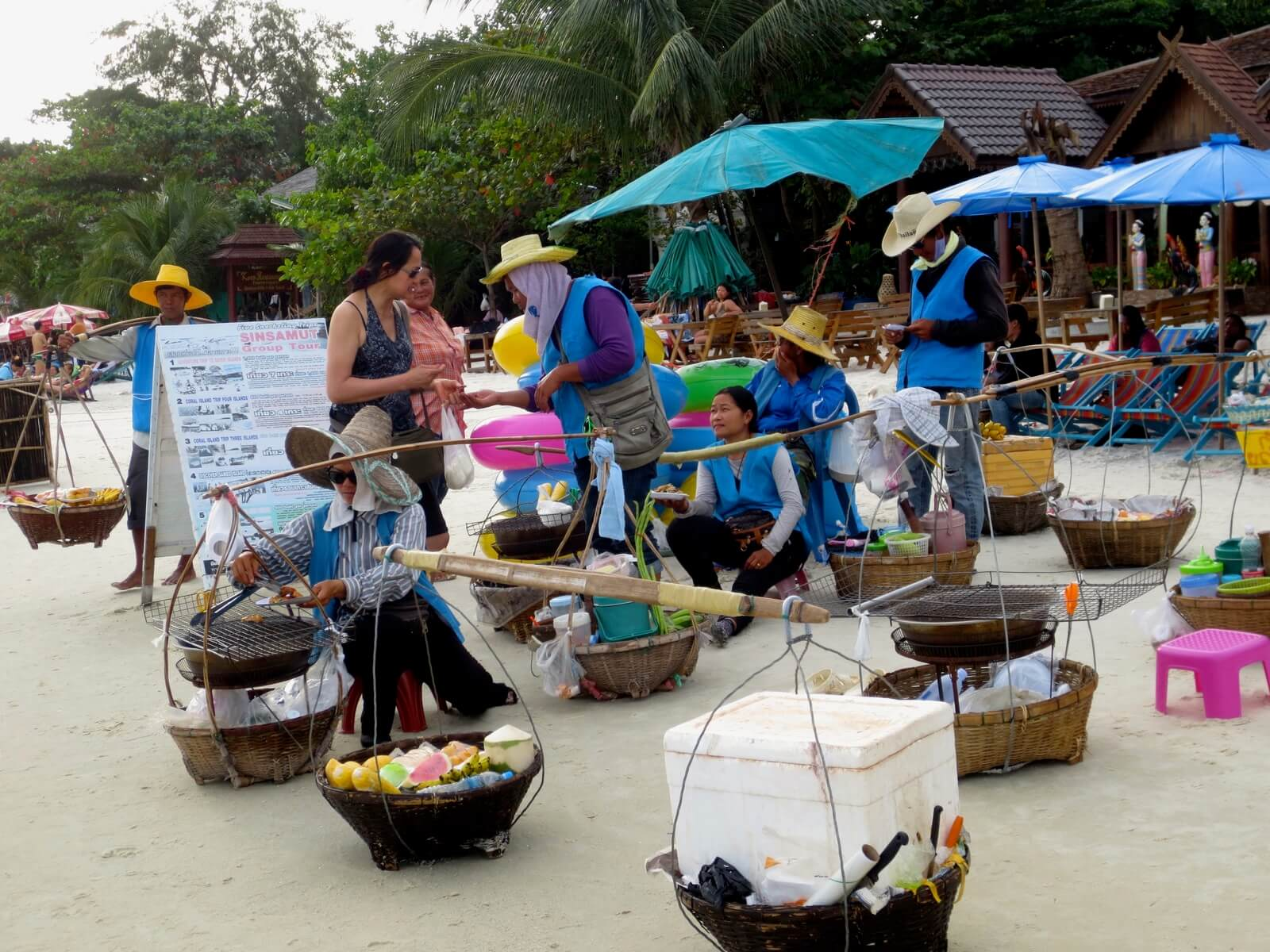Vendors on the beaches of Koh Samet island, Thailand