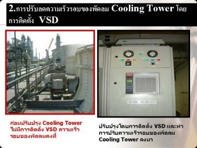 การปรับลดความเร็วรอบของพัดลม Cooling Tower โดยการติดตั้ง VSD
