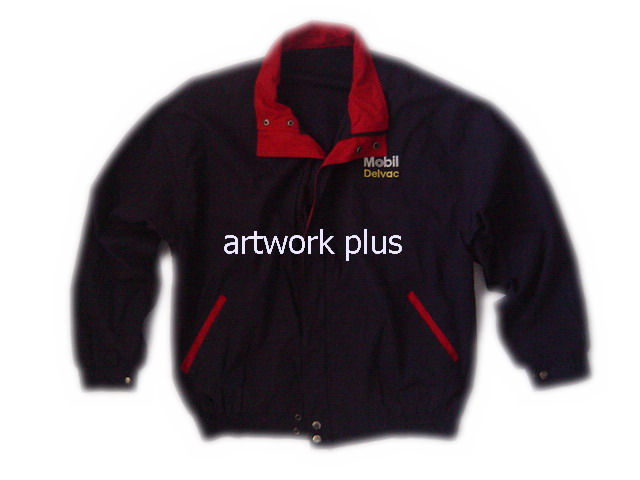 แจ็คเก็ต,เสื้อJacket,Jacket ชาย,แจ็คเก็ตพนักงาน,แจ๊คเก็ตสีดำตัดต่อสีแดง,Jacket_Mobil