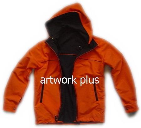 แจ็คเก็ตมีฮู้ด,เสื้อJacket,Hooded Jacket ชาย,แจ็คเก็ตใส่สองด้าน,แจ๊คเก็ตสีดำส้ม,แจ๊คเก็ตเอวเชือกรูด,แจ็กเก็ต_KUDSAN