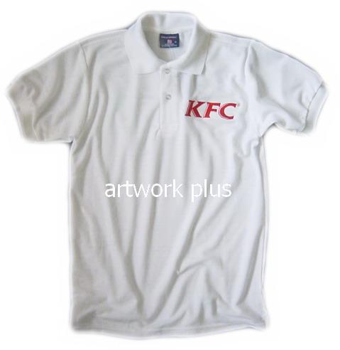 เสื้อโปโล,เสื้อโปโลสีขาว,เสื้อโปโลปักโลโก้ KFC,เสื้อโปโลบริษัท,เสื้อยืดทำงาน,เสื้อโปโลพนักงาน,เสื้อโปโลผู้ชาย,Polo Shirt,T-Shirt
