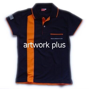 เสื้อโปโล,แบบเสื้อโปโลตัตต่อสี,เสื้อยืดพนักงาน,เสื้อโปโลพนักงาน,เสื้อโปโลผู้หญิง,เสื้อโปโลสีน้ำเงินแถบส้ม,เสื้อฟอร์มโปโล,Polo Shirt,T-Shirt