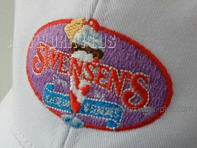 รับปักผ้า,รับปักโลโก้,ปักเสื้อ,ทำอาร์มติดเสื้อ,ปักโลโก้หมวก Swensen Logo