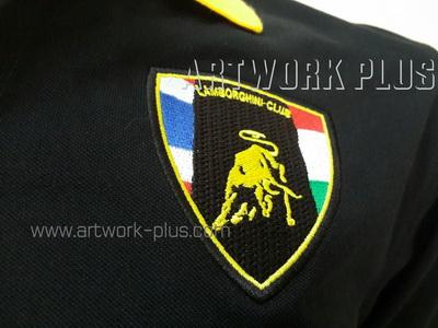 รับปัก,รับปักโลโก้,ปักเสื้อ,ทำอาร์มติดเสื้อ,ปักโลโก้_Lamhorghini_Logo