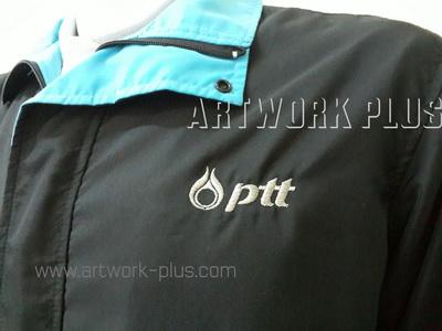 รับปัก,รับปักโลโก้,ปักเสื้อ,ทำอาร์มติดเสื้อ,ปักโลโก้_PTT_Logo