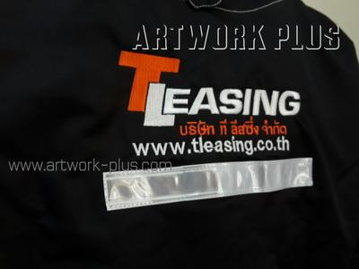 รับปัก,รับปักโลโก้,ปักเสื้อ,ทำอาร์มติดเสื้อ,ปักโลโก้_T Leasing_Logo