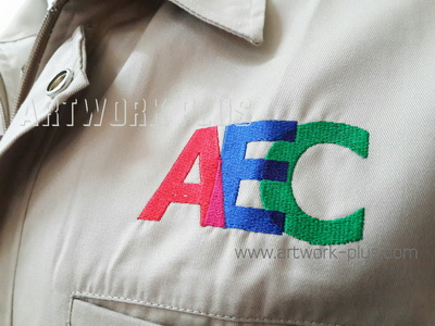 รับปัก,รับปักโลโก้,ปักเสื้อ,ทำอาร์มติดเสื้อ,ปักโลโก้,Logo_AEC
