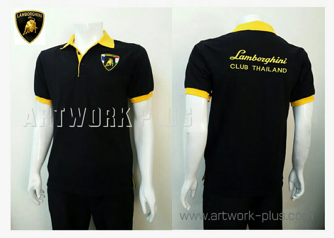 เสื้อโปโล,เสื้อโปโลสีดำแต่งเหลือง,รับผลิตเสื้อโปโล,ผู้ผลิตเสื้อโปโล,โรงงานผลิตเสื้อโปโล,เสื้อโปโลพนักงาน,เสื้อโปโลบริษัท,Polo Shirt_Lamborghini