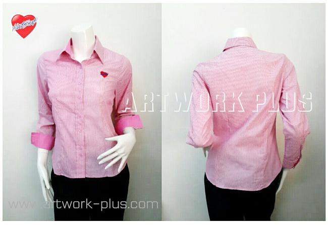 เสื้อบริษัท,เสื้อทำงาน,รับผลิตเสื้อเชิ้ต,เสื้อเชิ้ตพนักงาน,เสื้อเชิ้ตแขนยาว,เสื้อเชิ้ตผู้หญิง,เสื้อเชิ้ตสีชมพูริ้ว,เสื้อเชิ้ต_Shirt_Heart Beat