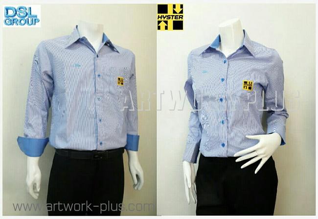 เสื้อเชิ้ตผ้าCVC,เสื้อเชิ้ตพนักงาน,เสื้อเชิ้ตแขนยาว,เสื้อเชิ้ตผู้หญิง,เสื้อเชิ้ตรอ้วสีฟ้าขาว,เสื้อเชิ้ตดิลกแอนด์บุตร,Shirt_ DSL