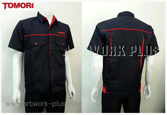 เสื้อบริษัท,เสื้อทำงาน,ชุดทำงานบริษัท,ชุดพนักงาน,ชุดฟอร์ม,ชุดฟอร์มบริษัท,เสื้อพนักงานสีกรมท่ากุ้นแดง,เสื้อพนักงานบริษัท,เสื้อพนักงาน TOMORI