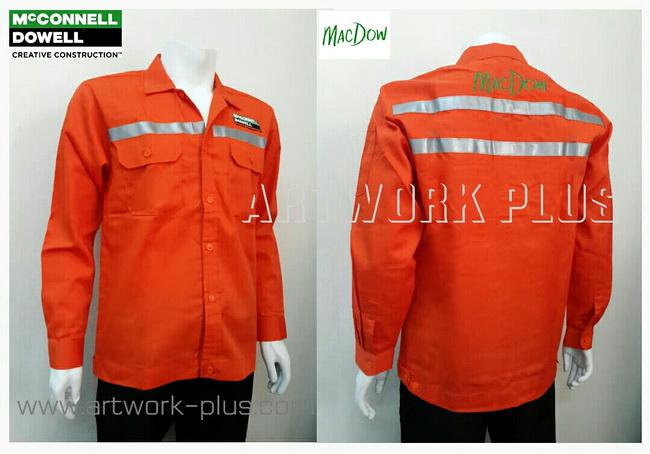 เสื้อบริษัท,เสื้อทำงาน,ชุดทำงานบริษัท,ชุดพนักงาน,ชุดฟอร์ม,ชุดฟอร์มบริษัท,เสื้อพนักงานสีส้มติดเทปสะท้อนแสง,เสื้อพนักงาน _MacDow