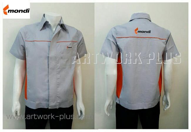 เสื้อบริษัท,เสื้อทำงาน,ชุดทำงานบริษัท,ชุดพนักงาน,ชุดฟอร์ม,ชุดฟอร์มบริษัท,เสื้อพนักงานสีเทาต่อส้ม,เสื้อพนักงานโรงงาน,เสื้อพนักงาน Mondi