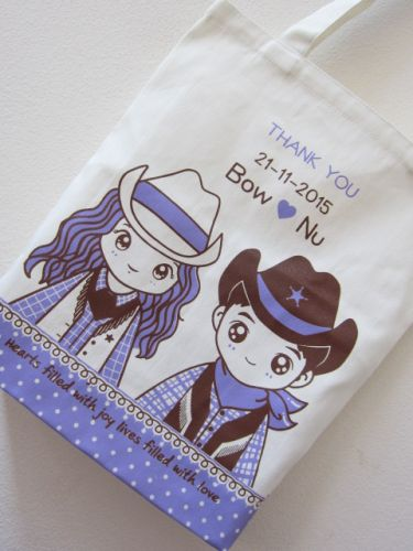 ถุงผ้าดิบ กระเป๋าผ้าดิบ ลดโลกร้อน ของชำร่วยงานแต่ง ผ้าดิบลายสอง ผ้าแคนวาส สกรีนลาย จาก baginlove.com