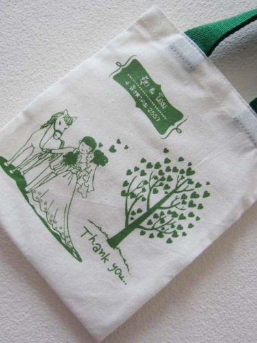ถุงผ้าดิบ ลดโลกร้อน ของชำร่วย งานแต่งงาน ลายสกรีน สร้าสรรค์ โดย baginlove.com