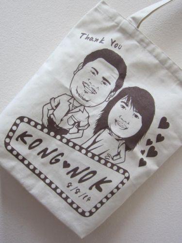 ถุงผ้า ของชำร่วย งานแต่งงาน ลายสกรีน ของคุณลูกค้า จาก baginlove.com