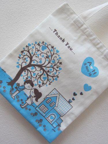 ถุงผ้า กระเป๋าผ้า ลดโลกร้อน ของชำร่วย งานแต่งงาน ลายสกรีนสวย จาก baginlove.com