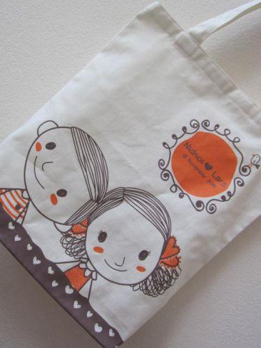 ถุงผ้า กระเป๋าผ้า ลดโลกร้อน ของชำร่วยงานแต่งงาน สกรีนลาย จาก baginlove.com