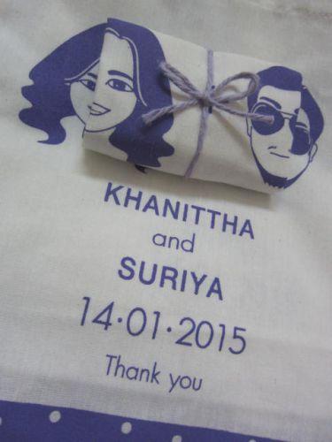 ถุงผ้า ของชำร่วย งานแต่ง สกรีนลายคู่รัก จาก baginlove.com