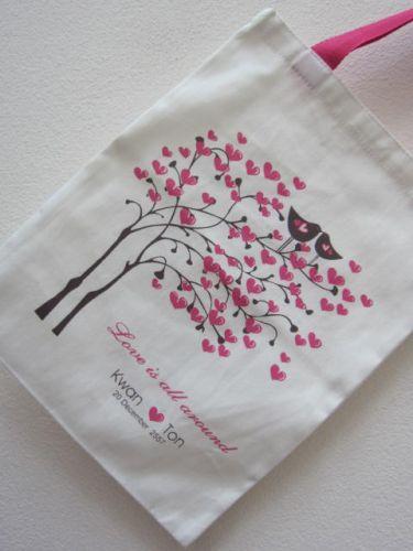 ถุงผ้า ถุงผ้าดิบ ลดโลกร้อน ของชำร่วยงานแต่ง สกรีนลายน่ารัก จาก baginlove.com