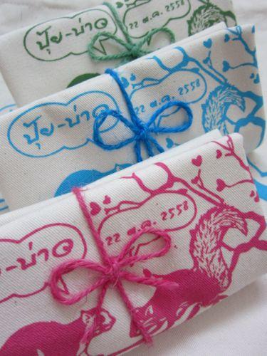 ถุงผ้าดิบ กระเป๋าผ้าดิบ ลดโลกร้อน ของชำร่วย งานแต่ง ผ้าดิบลายสอง ผ้าแคนวาส สกรีนลาย จาก baginlove.com