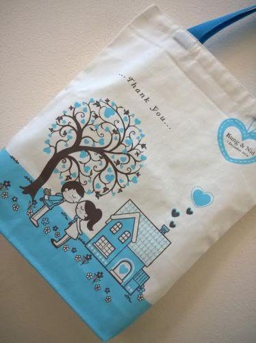 ถุงผ้า ลดโลกร้อน ของชำร่วย งานแต่ง สกรีนลาย จาก baginlove.com