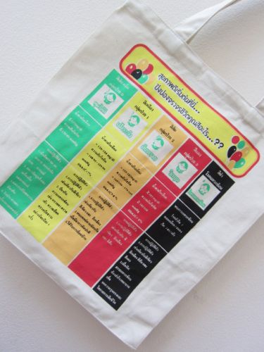 ถุงผ้าดิบ กระเป๋าผ้าดิบ ลดโลกร้อน สำหรับโรงพยาบาล  ผ้าดิบลายสอง ผ้าแคนวาส สกรีนลาย จาก baginlove.com