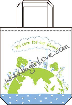ลายสกรีน ถุงผ้า ลดโลกร้อน ของชำร่วย งานแต่ง สร้าสรรค์โดย baginlove.com