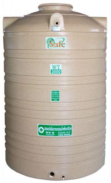 ถังน้ำ ถังเก็บน้ำ ถังน้ำดี พลาสติก พีอี ลายแกรนิต กันตะไครน้ำ  safe 3000 ลิตร