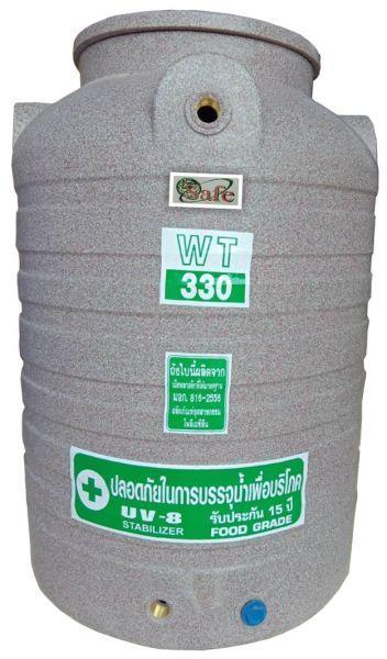 ถังน้ำ ถังเก็บน้ำ ถังน้ำดี พลาสติก พีอี ลายแกรนิต กันตะไครน้ำ  safe 300 ลิตร