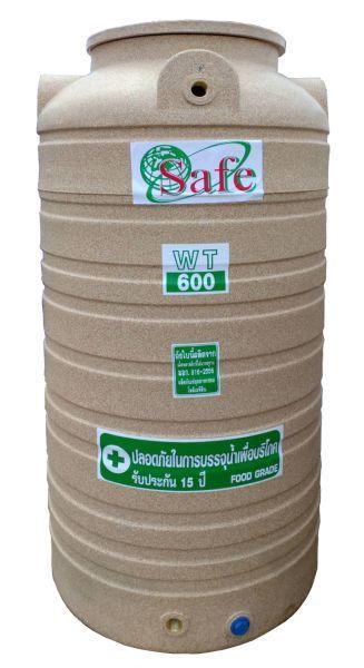 ถังน้ำ ถังเก็บน้ำ ถังน้ำดี พลาสติก พีอี ลายแกรนิต กันตะไครน้ำ  safe 600 ลิตร