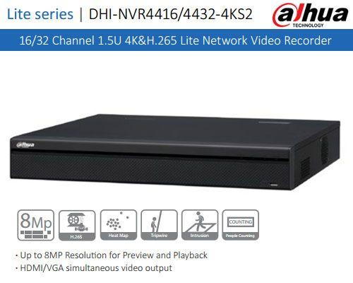 Dahua 4K/&H.265 8CH NVR4108HS-8P-4KS2 PoE NVR Network HDMI VGA IP Video Recorder