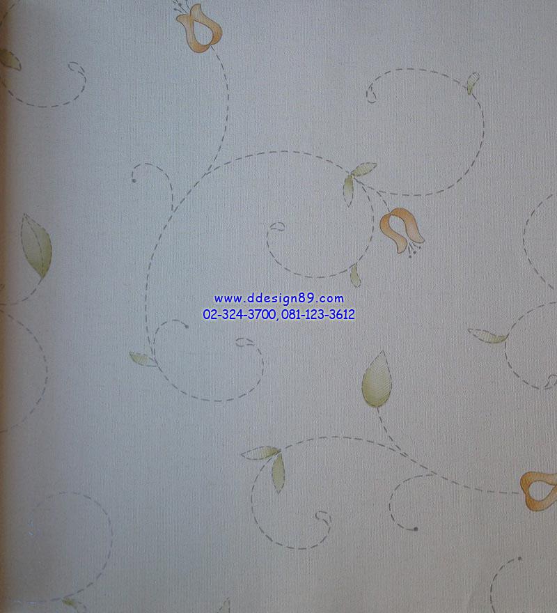 วอลเปเปอร์ติดผนังลายดอกไม้สีส้ม ใบไม้สีเขียว พื้นขาว