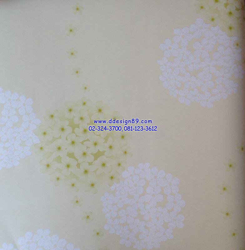 วอลเปเปอร์ติดผนังลายดอกไม้สีเขียว เกาะกันเป็นวงกลม