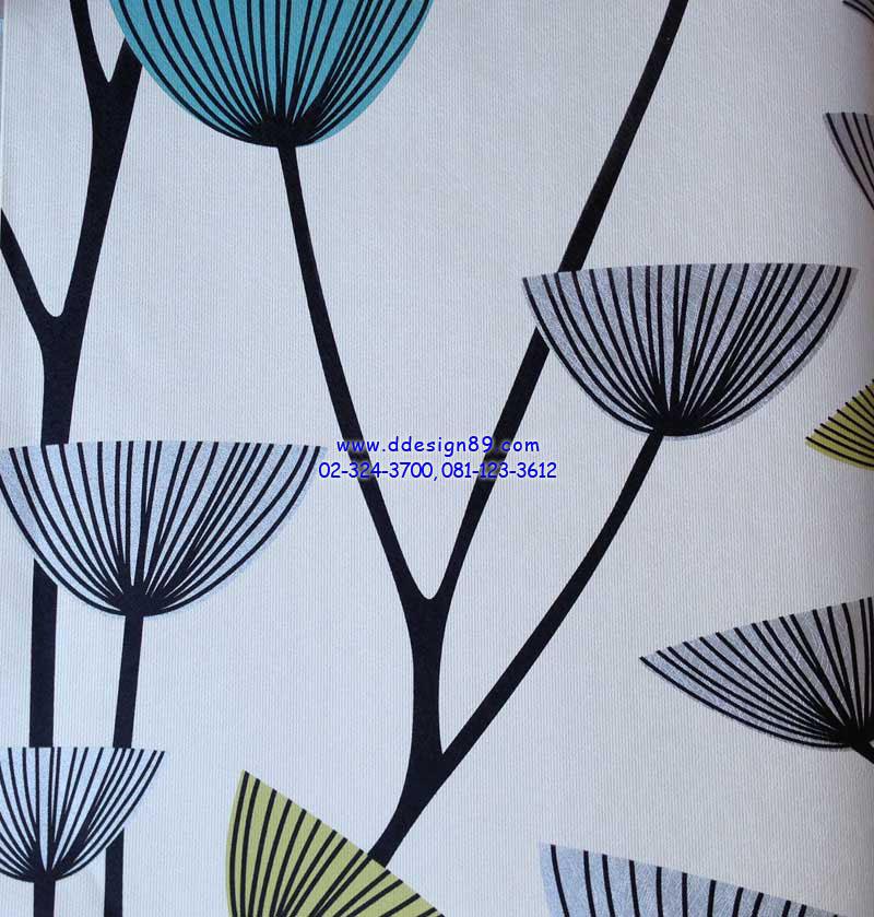 ตัวอย่าง วอลเปเปอร์ติดผนังลายดอกไม้โมเดิร์นสีฟ้า เขียว ขาว