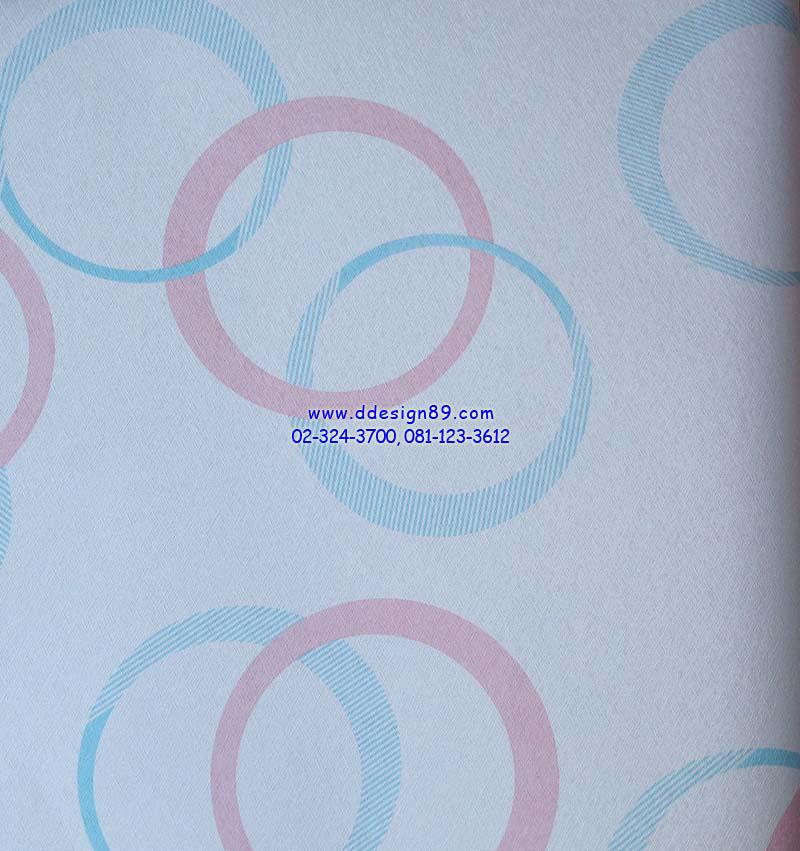 วอลเปเปอร์ติดผนังลายวงกลมสีฟ้า ชมพู พื้นขาว