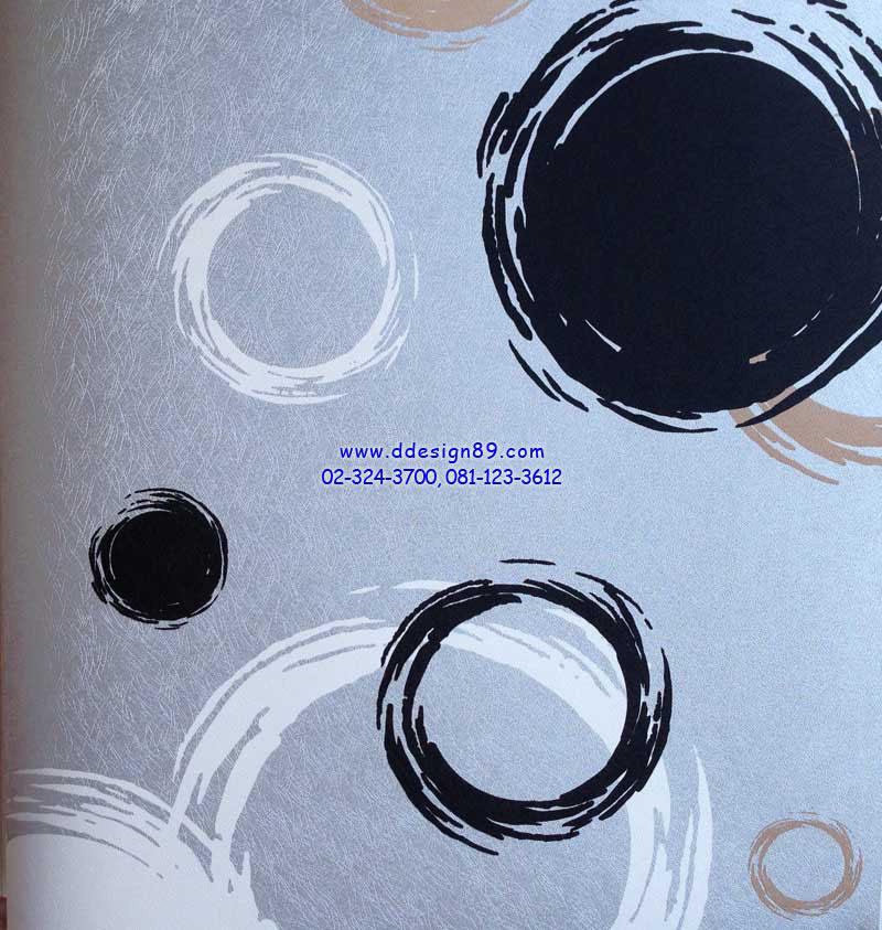 วอลเปเปอณ์ติดผนังลายวงกลมสีดำ ขาว พื้นฟ้า