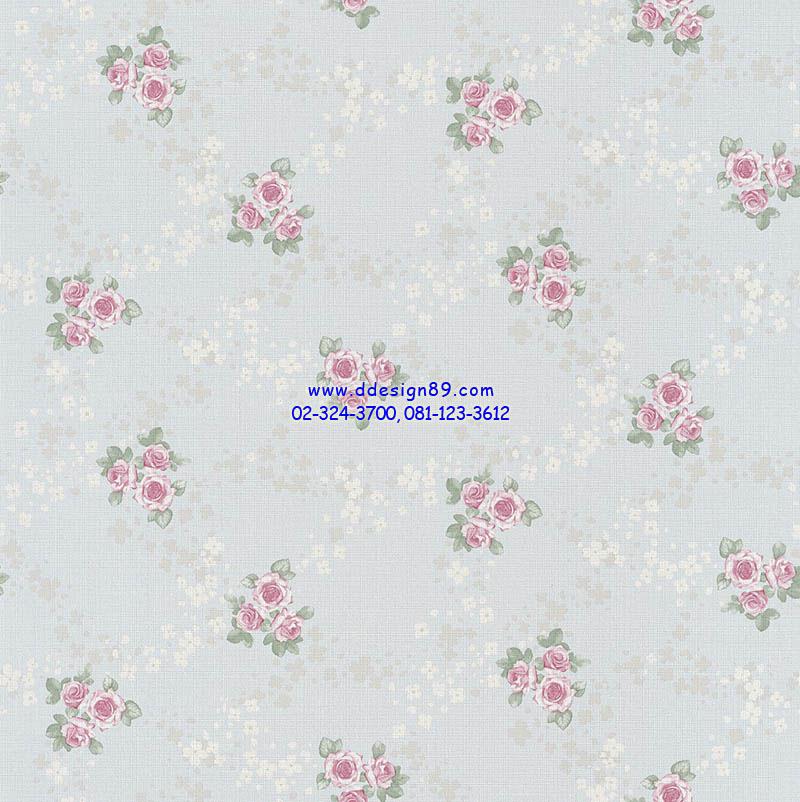 วอลเปเปอร์ติดผนังลายดอกกุหลาบสีชมพู พื้นฟ้า