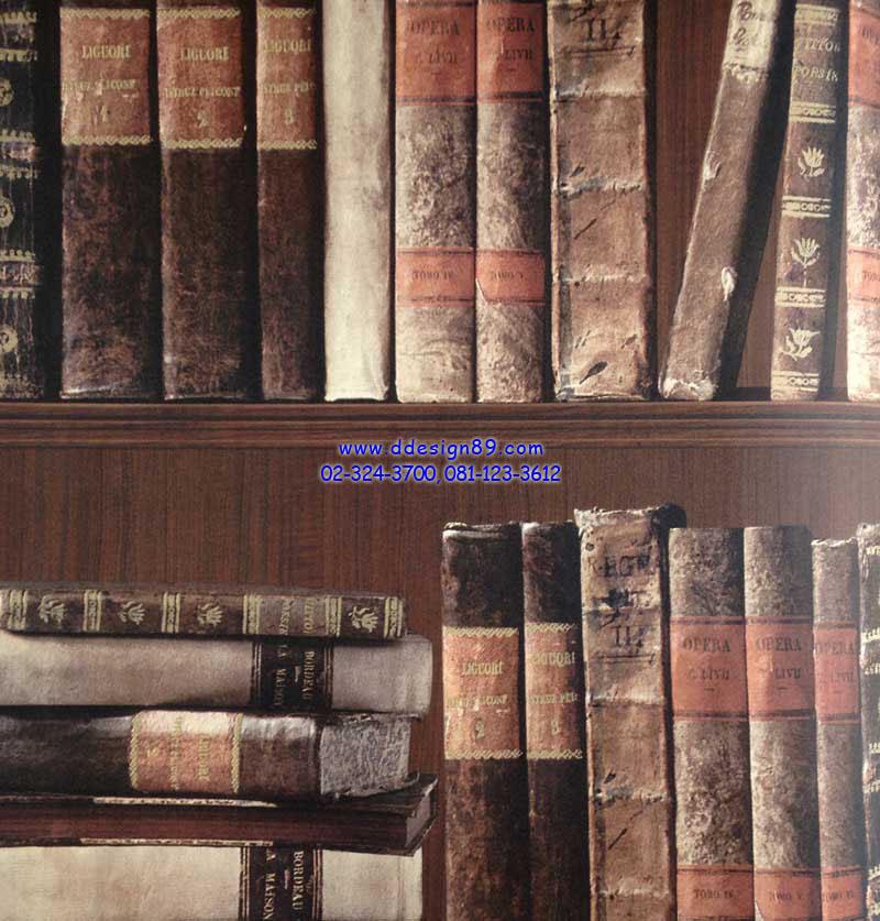 วอลเปเปอร์ติดผนังลายชั้นวางหนังสือ