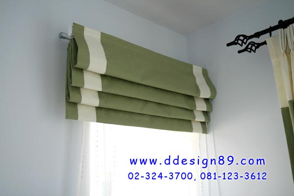 ติดผ้่าม่านพับสีเขียว พร้อมผ้าขาวโปร่ง  รับทำม่านบางนาตราด บ้านมัลดีฟปาล์ม