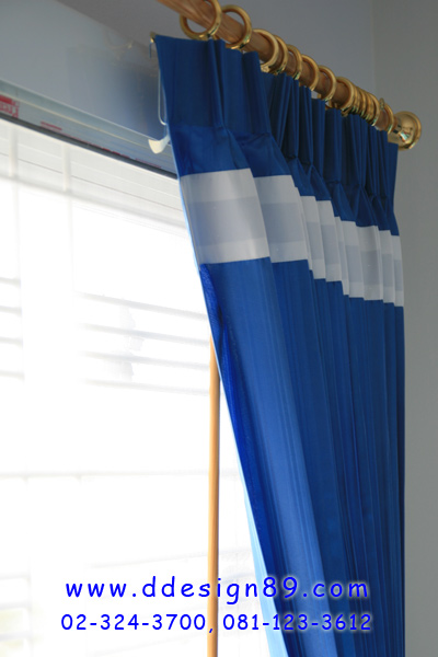 ตัวอย่างผ้าม่านสีน้ำเงิน ร้านอยู่สมุทรปราการ