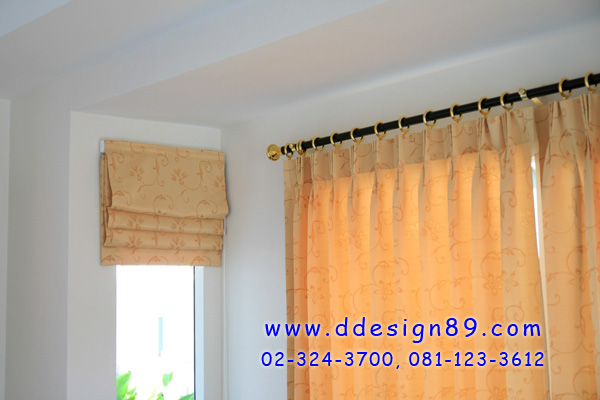 ติดตั้งผ้าม่านจีบ ม่านติดบ้าน สั่งตัดผ้าม่านตามบ้าน ผ้าม่านสีเหลืองส้ม ผ้าม่านโชว์ราง