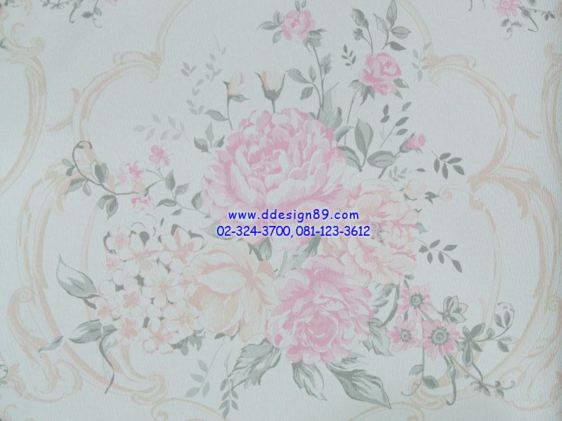 วอลเปเปอร์ติดผนังพื้นขายดอกไม้ชมพูดอกใหญ่