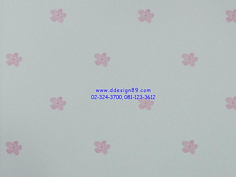 วอลเปเปอร์ติดผนังพื้นสีขาวดอกไม้ชมพูดอกเล็ก