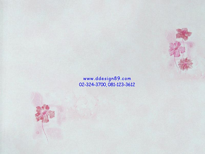 วอลเปเปอร์ติดผนังพื้นสีขาวครีมดอกไม้เล็กสีชมพู
