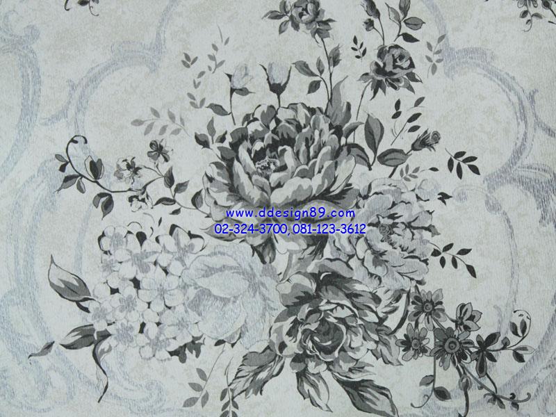วอลเปเปอร์ติดผนังพื้นสีขาวเทาดอกไม้สีดำ