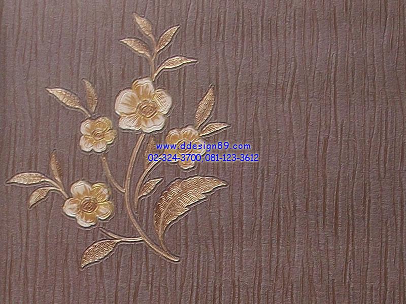 วอลเปเปอร์ลายดอกไม้พื้นสีน้ำตาล