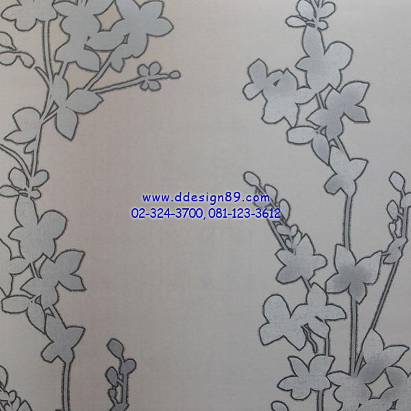 วอเปเปอร์ลายวินเทจดอกไม้สีเทาอ่อ่น
