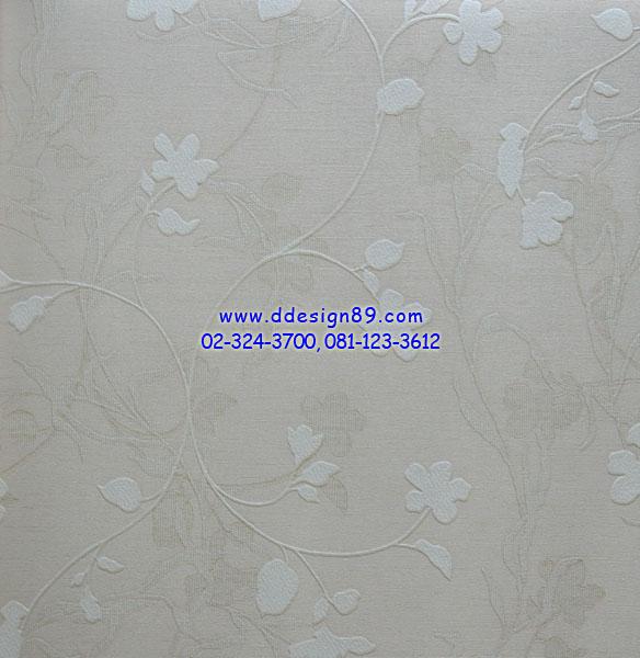 วอลเปเปอร์ลายดอกไม้พื้นน้ำตาลขาว